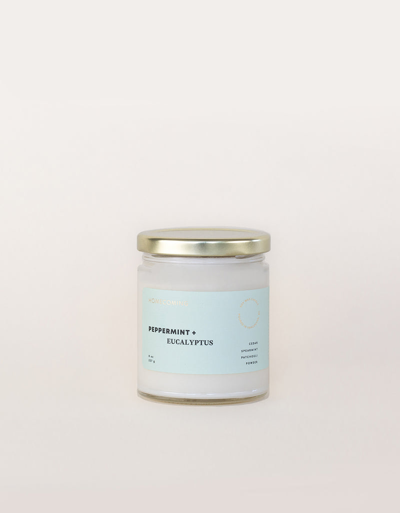 Homecoming Soy Wax Candle Peppermint + Eucalyptus