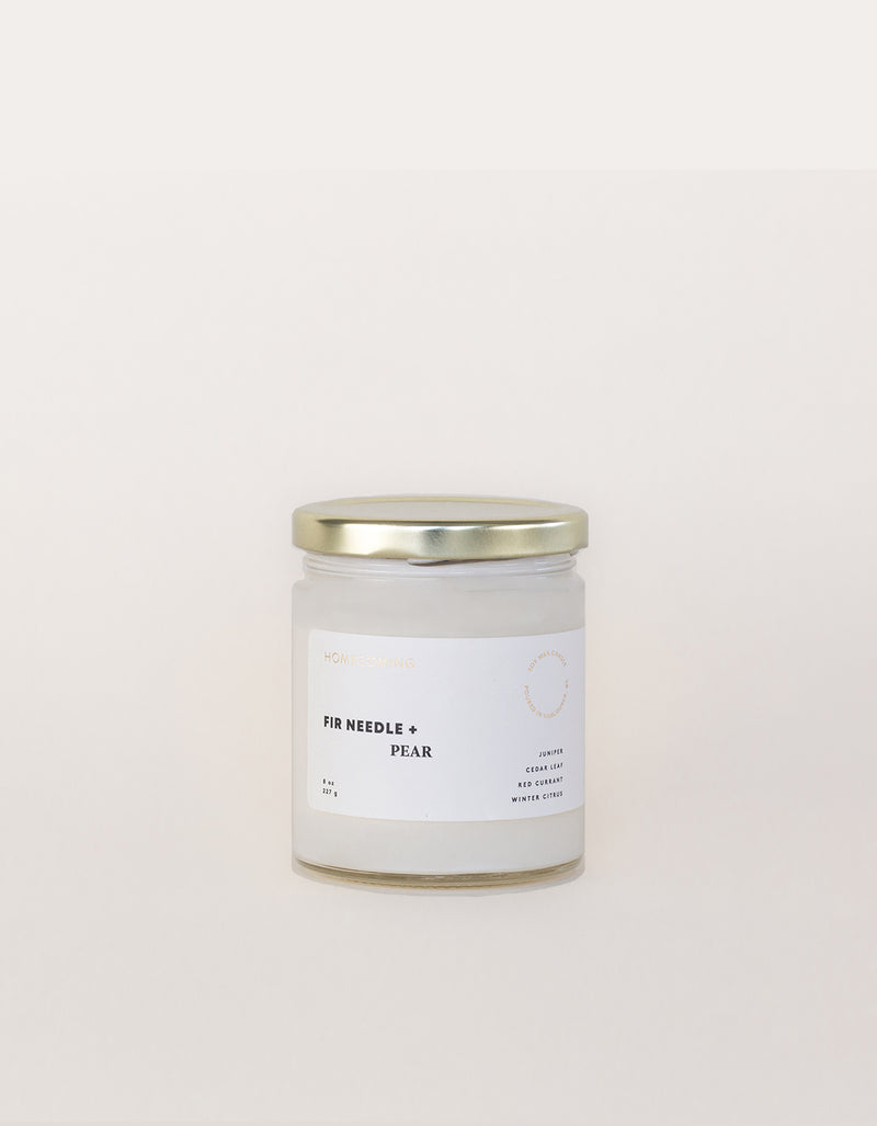 Homecoming Soy Wax Candle in Fir Needle + Pear