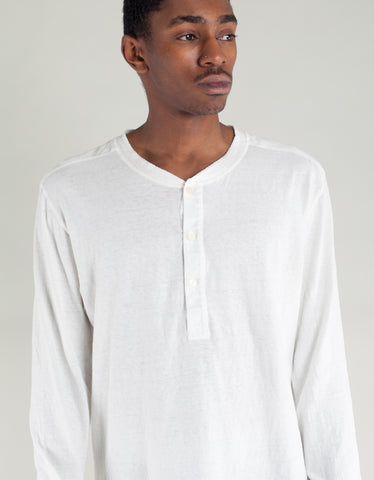 Homespun Knitwear Coalminer Henley LS White