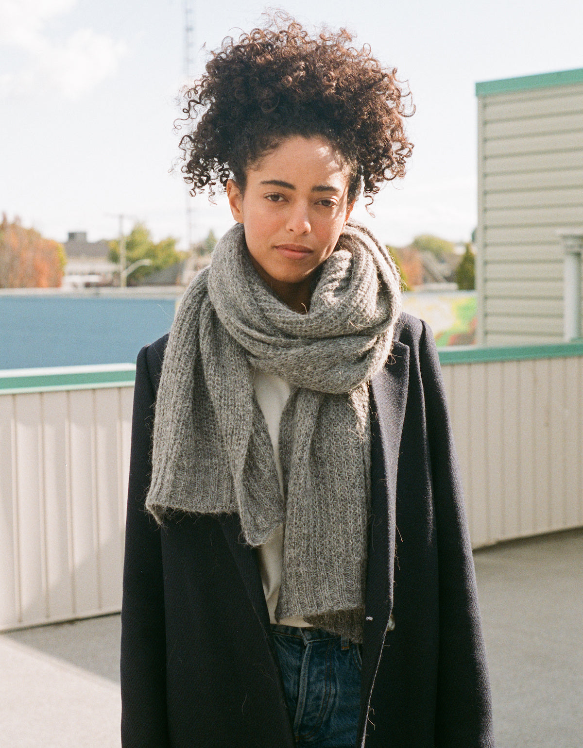 Indi & Cold Chunky Knit Scarf Heather Grey