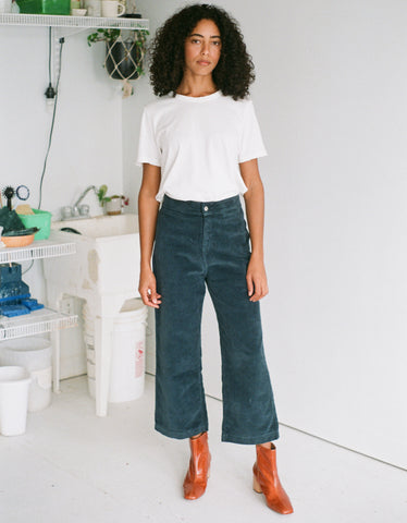 Indi & Cold Corduroy Cropped Trouser Steel Grey