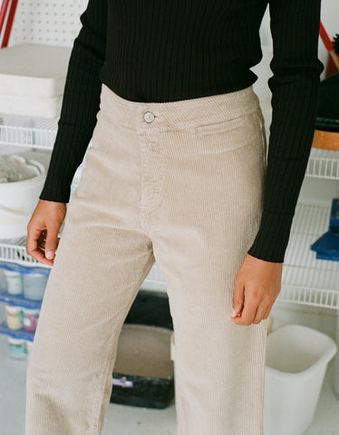 Indi & Cold Corduroy Cropped Trouser Stone Grey