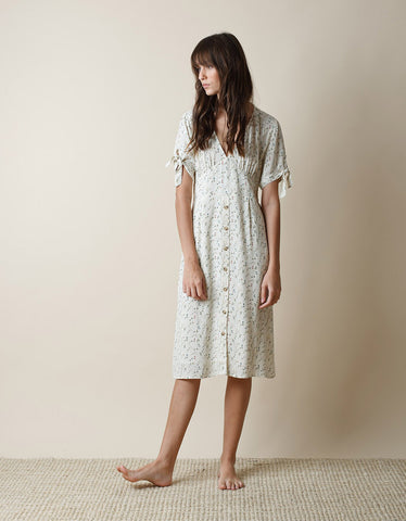 Indi & Cold Floral V Neck Dress Crudo