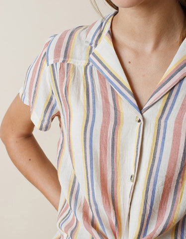 Indi & Cold Striped Blouse Terracotta
