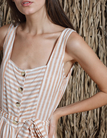 Indi & Cold Striped Tank Dress Canela