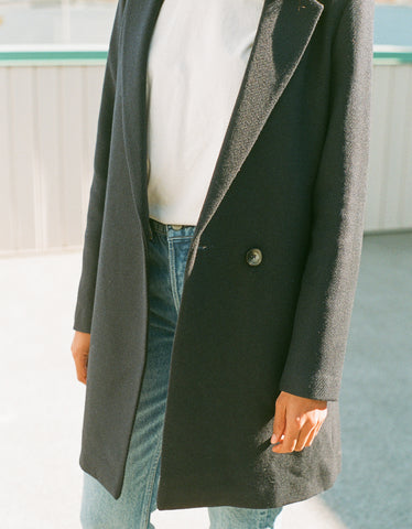 Indi & Cold Tailored Coat with Lapel Marino