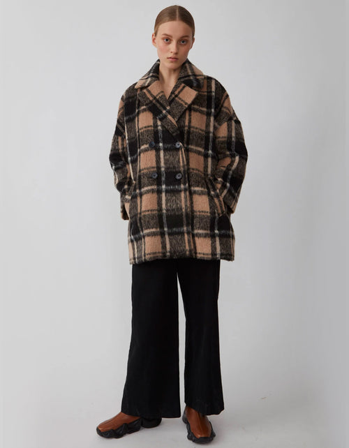 Just Female Chelsea Coat Walnut Check