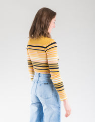 Just Female Crystal Sweater Multi Stripe Yellow