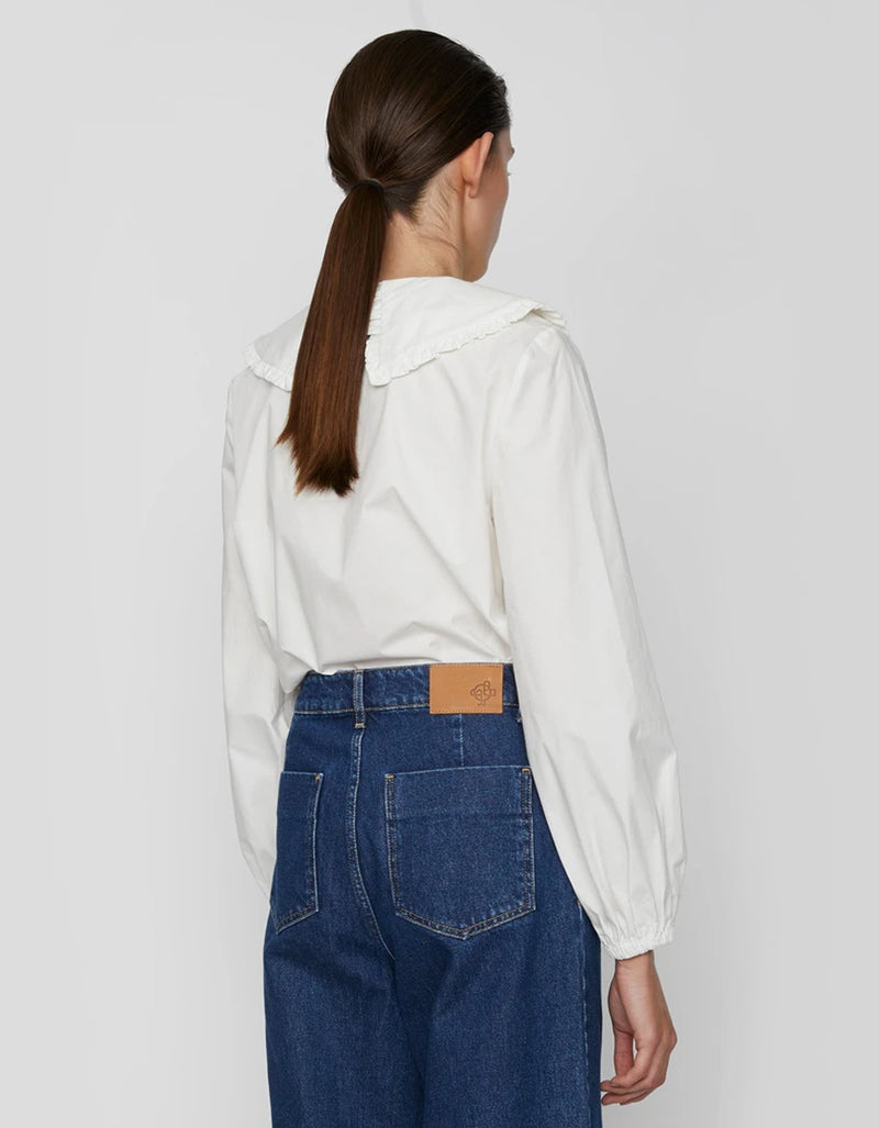 Just Female Ease Frill Shirt in Off White