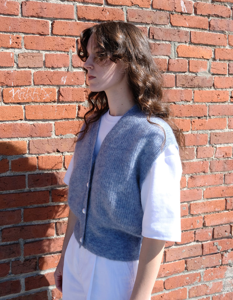 Just Female Girona Knit Vest in Blue