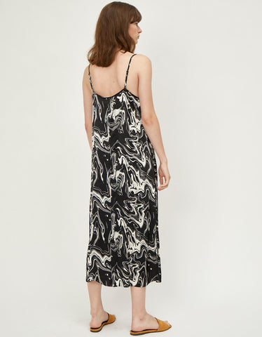 Just Female Lava Strap Dress, Black Marble AOP