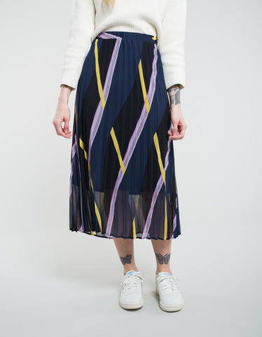 Just Female Moe Pleated Skirt Diagonal AOP