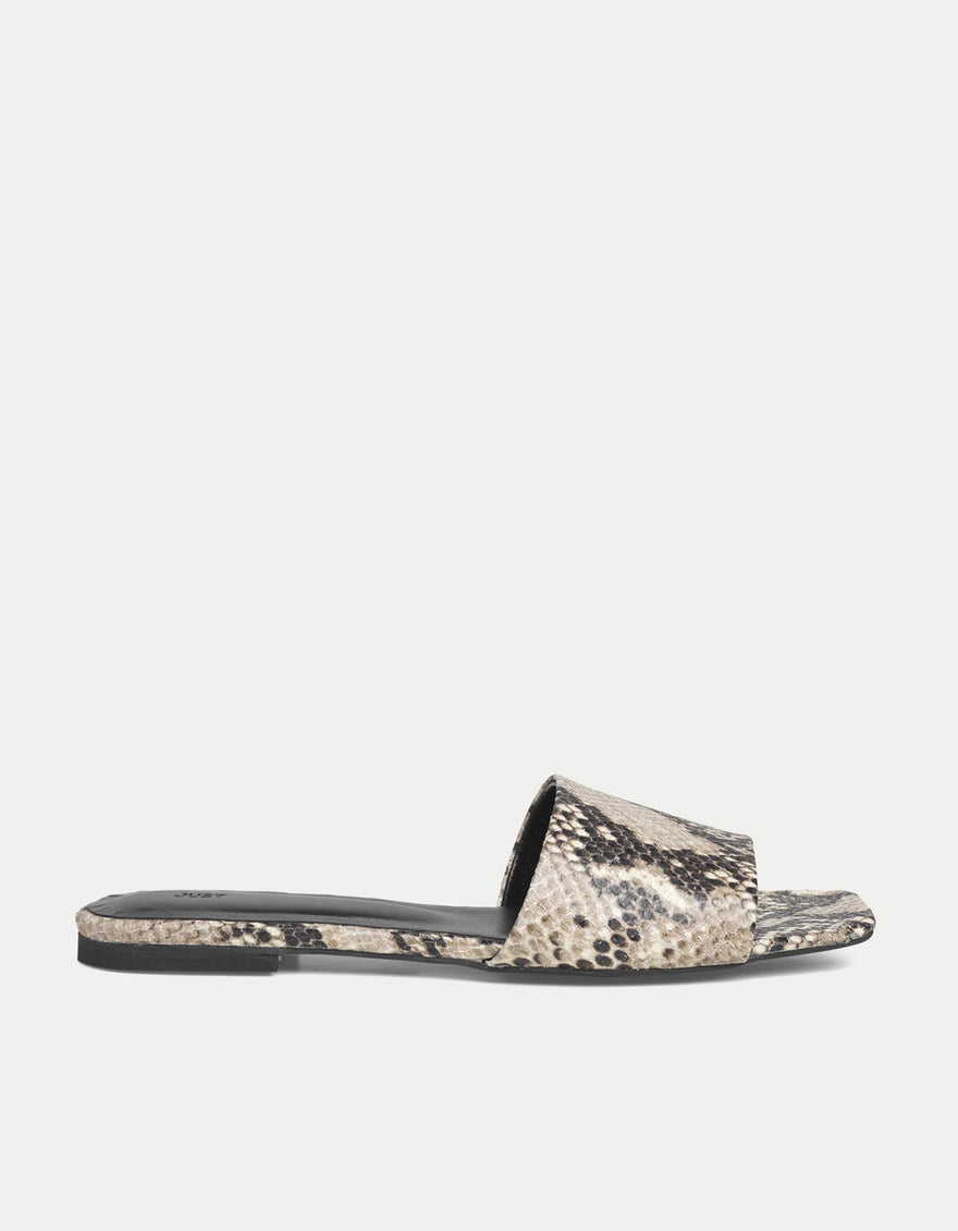 Just Female Riga Snake Sandals, Beige Snake