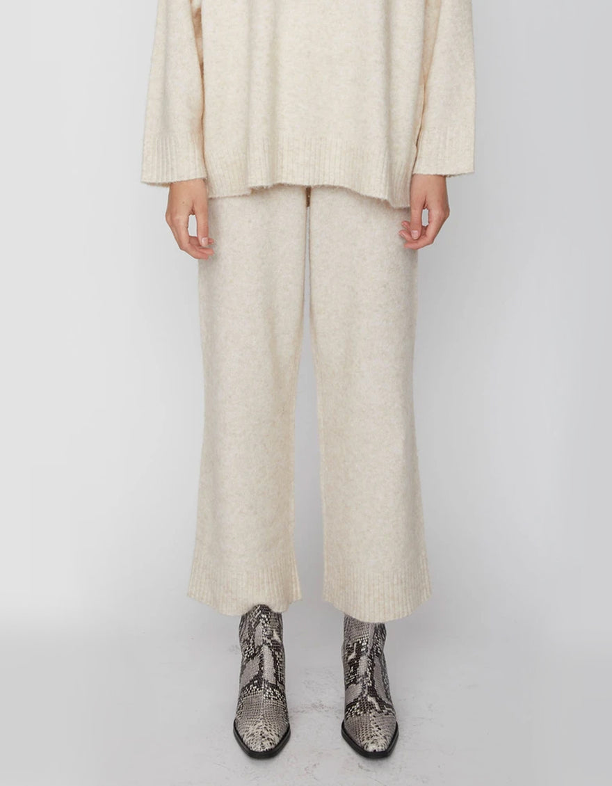 Just Female Unite Knit Trousers in Off White