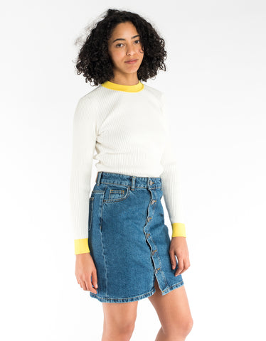 Just Female Kamma Knit Bright White Yellow Stripe