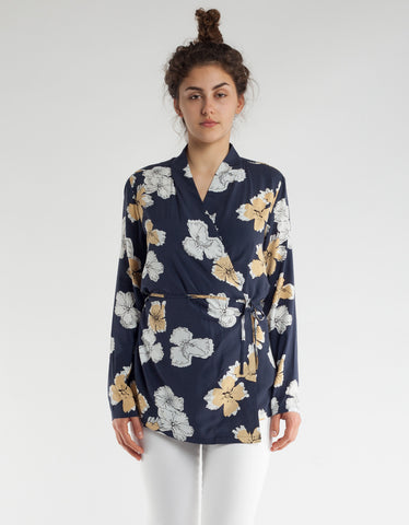 Just Female Nolita Wrap Blouse Blue Colour Artwork