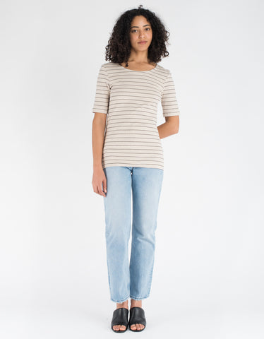 Just Female Nova Tee Light Sand Black Stripe
