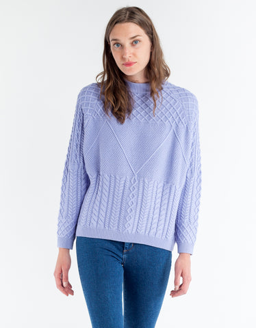 Just Female Turo Cable Knit Lavender