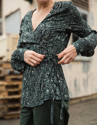 Just Female Christie Wrap Blouse Green Snake Print