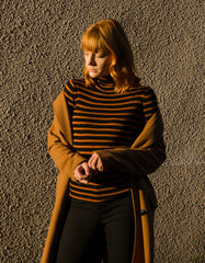 Just Female Evan Roll Neck Knit Pumpkin Black Stripe