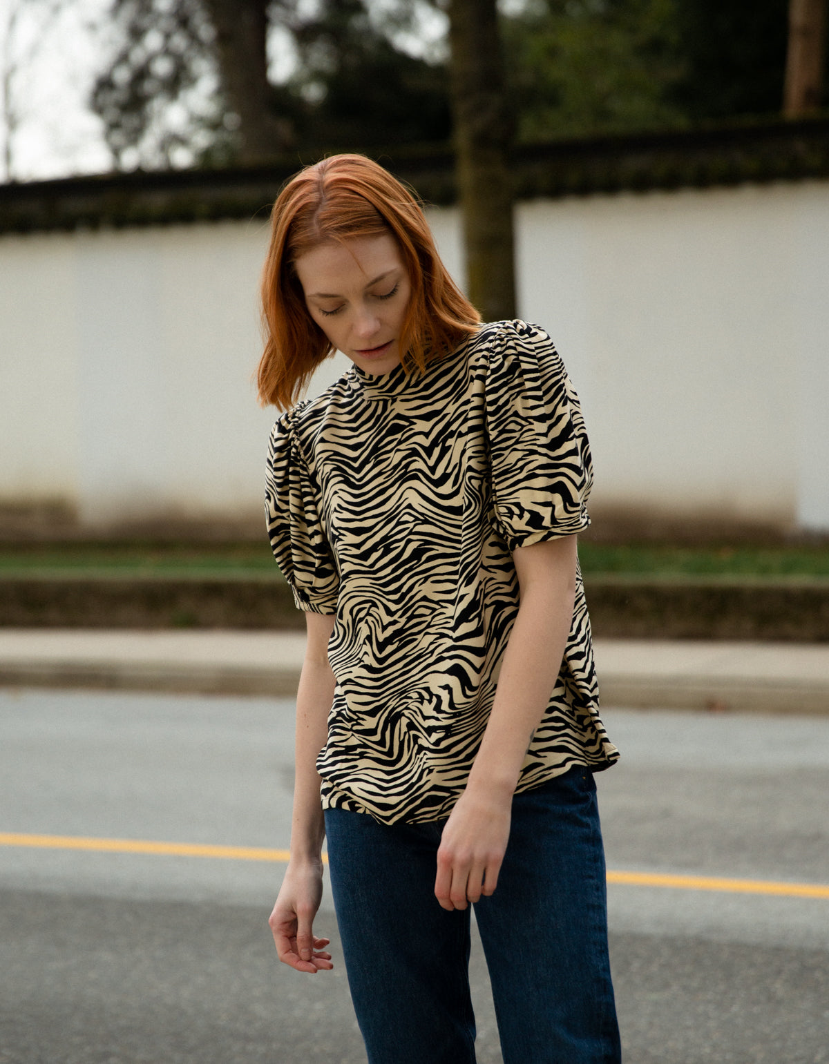 Just Female Sephina Blouse Zebra AOP