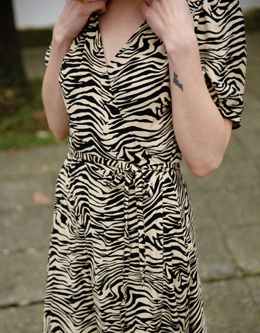 Just Female Sephina Wrap Dress Zebra AOP