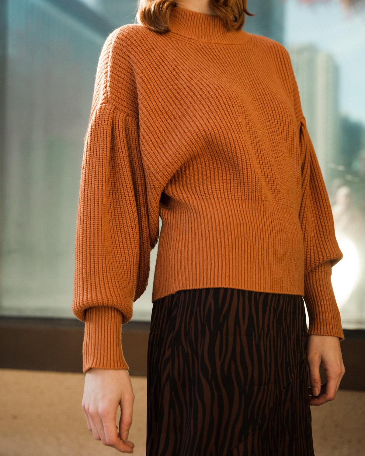Just Female Sophie High Neck Knit Pumpkin Spice
