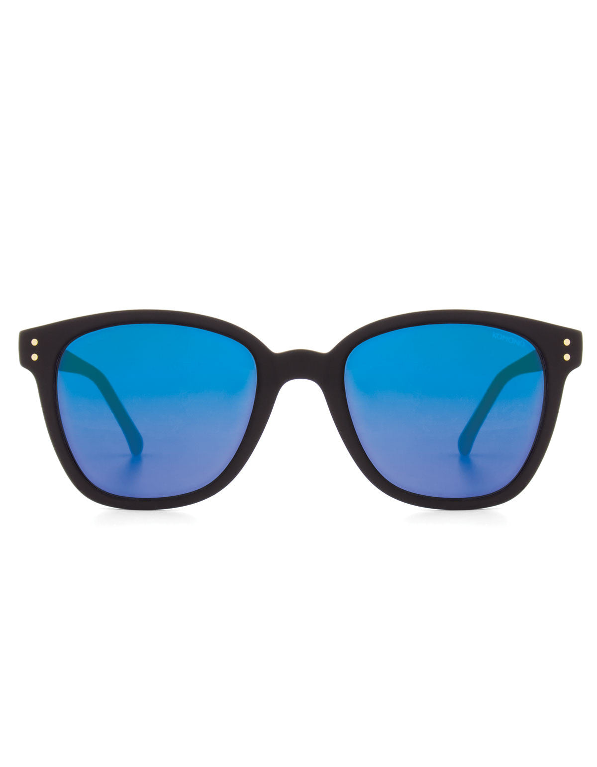 Komono Renee Sunglasses Black Rubber Blue Mirror - Still Life - 1