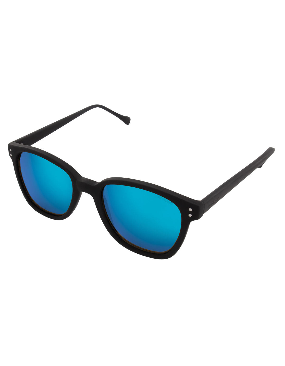 Komono Renee Sunglasses Black Rubber Blue Mirror - Still Life - 2