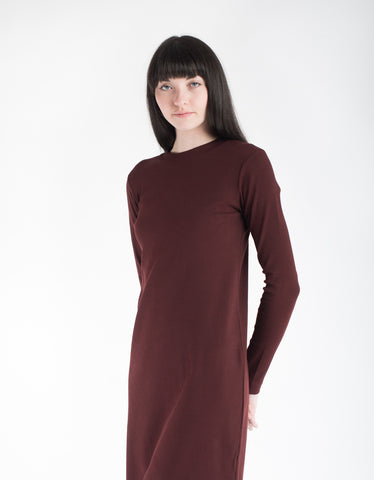 Kowtow Building Block Rib Long Sleeve Dress Burgundy