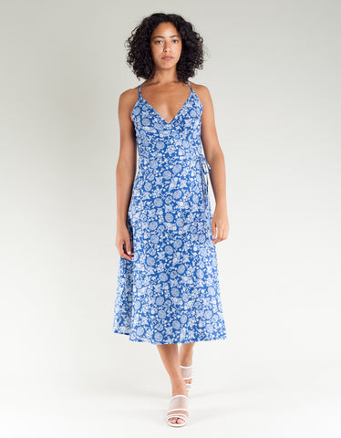 Lacausa Penny Wrap Dress Porcelain Print