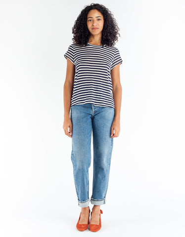 Lacausa Sea Tee Navy Stripe