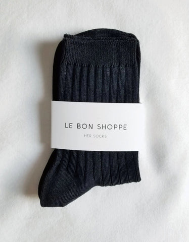Le Bon Shoppe Solid Socks True Black