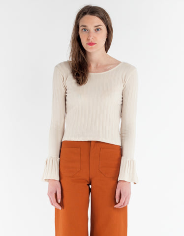 Lykke Wullf Bobby Bell Sleeve Top Cream Rib Knit