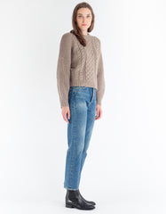 Micaela Greg Cropped Fisherman Pullover Tan