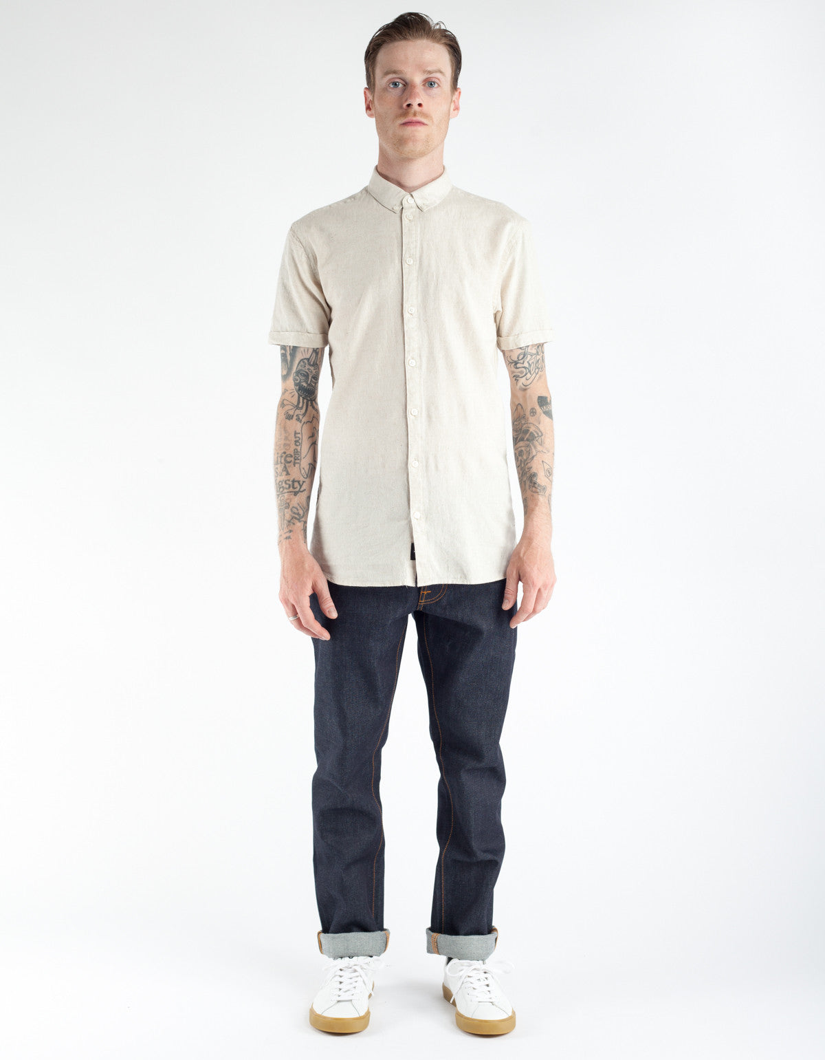Minimum Ezra Short Sleeve Shirt Oyster Grey