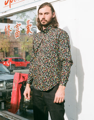 Naked & Famous Easy Shirt Pastel Flowers in Black