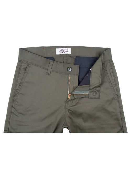 Naked & Famous Slim Chino Stretch Twill in Khaki Green