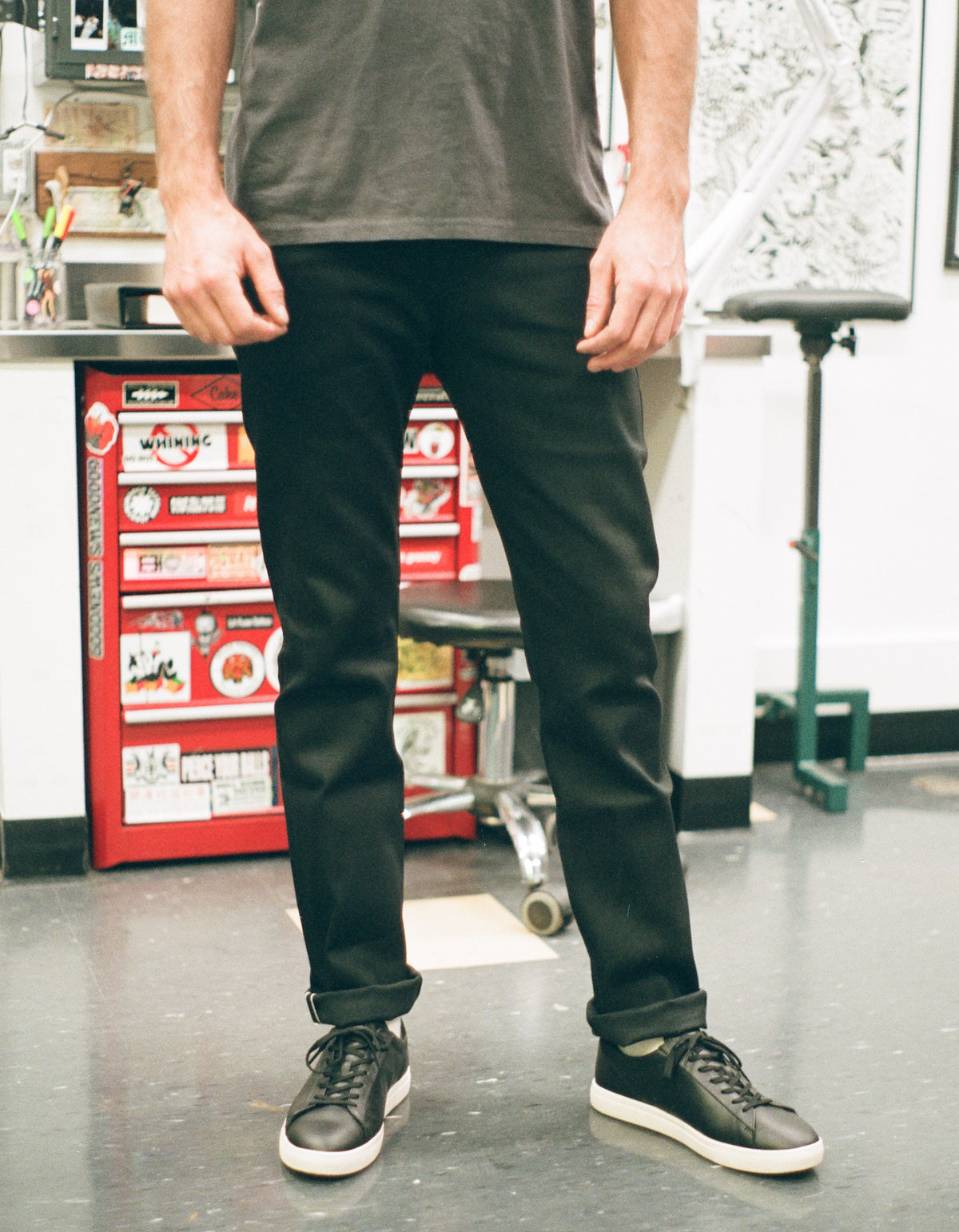 Naked & Famous Weird Guy Stretch Selvedge Jean in Black Cobra