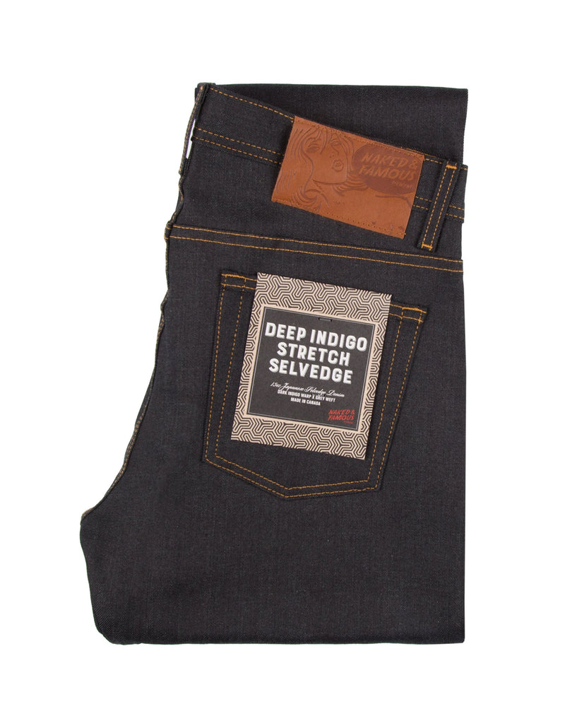 Naked & Famous Weird Guy Stretch Selvedge Jean in Deep Indigo