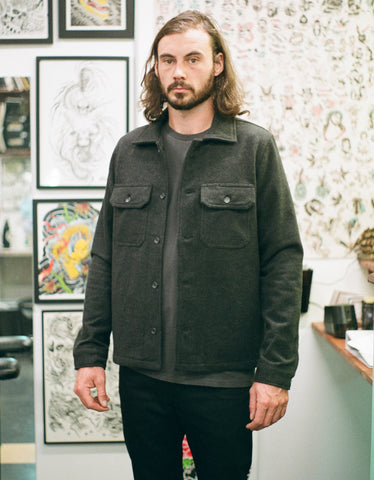 Naked & Famous Work Shirt in Charcoal