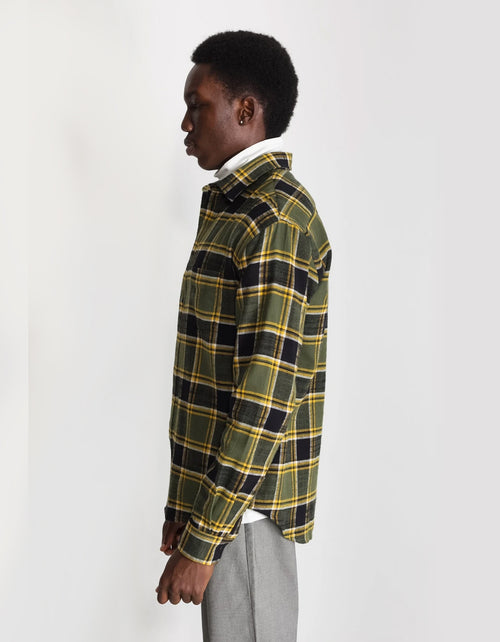 National Standards Japanese Billy Plaid Relaxed Fit Shirt in Green & Black