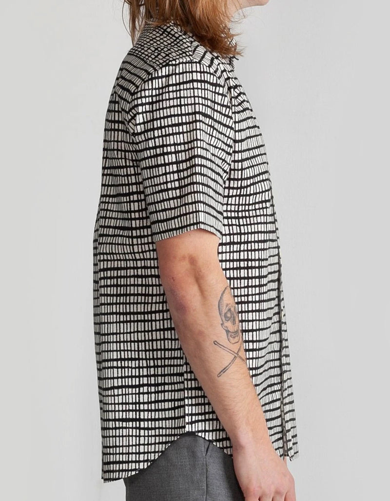 National Standards Japanese Grid Print Shirt in Off White/Black