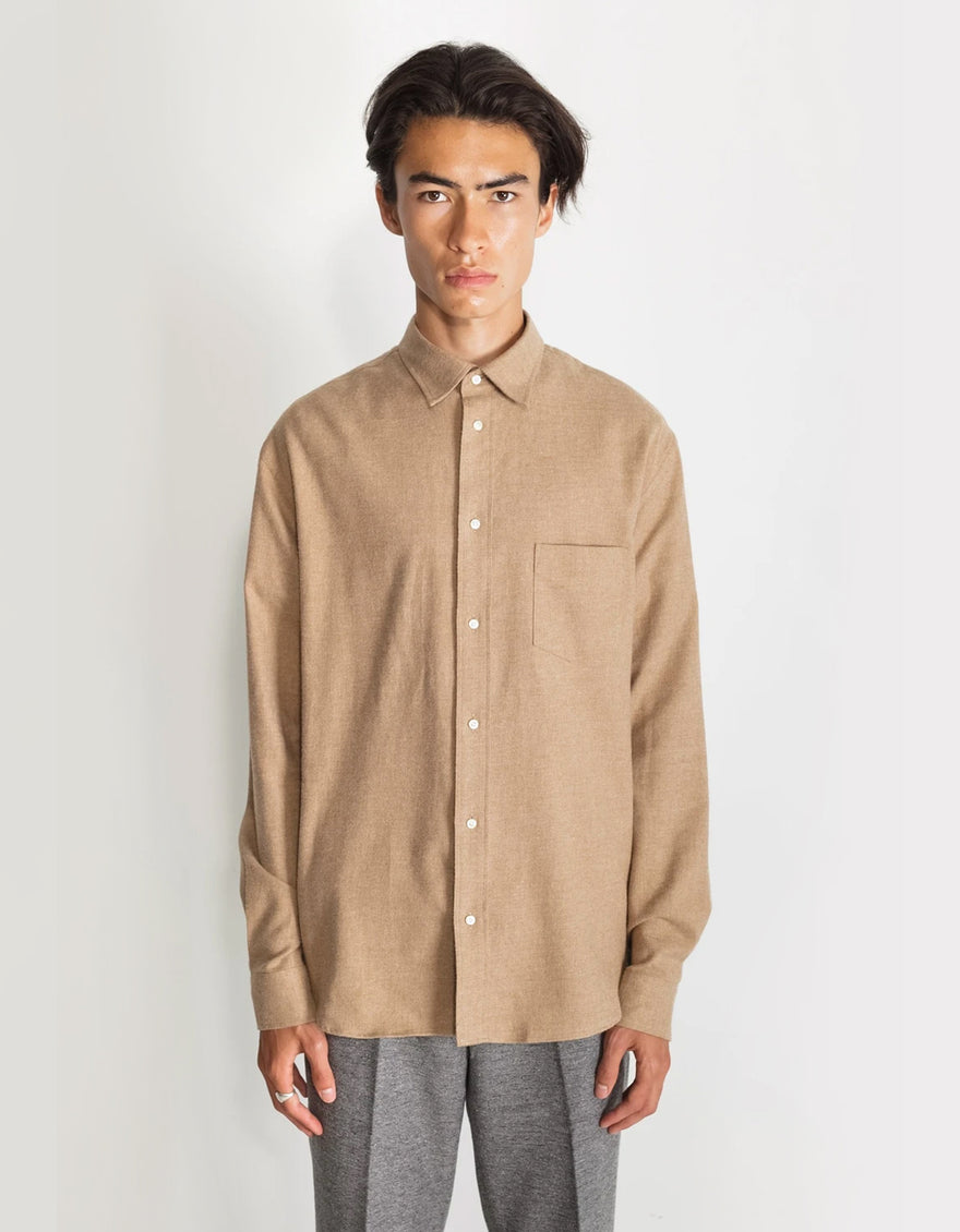 National Standards Japanese Soft Flannel Relaxed Fit Shirt in Camel Melange