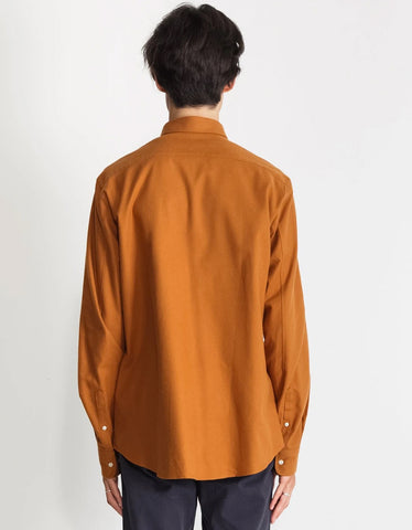 National Standards Japanese Yarn Dyed Flannel Shirt Amber