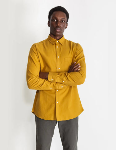 National Standards Japanese Yarn Dyed Flannel Shirt in Mustard