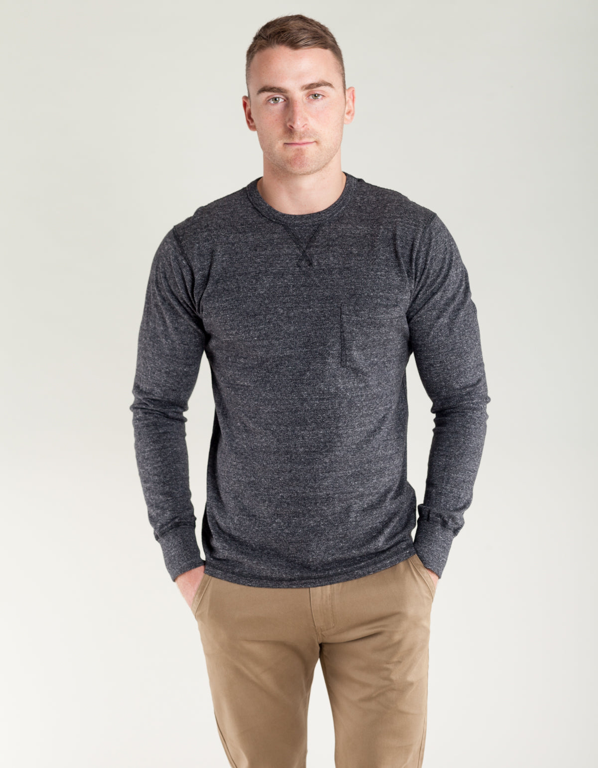 National Athletic Goods Pocket Gym Tee Black Heather