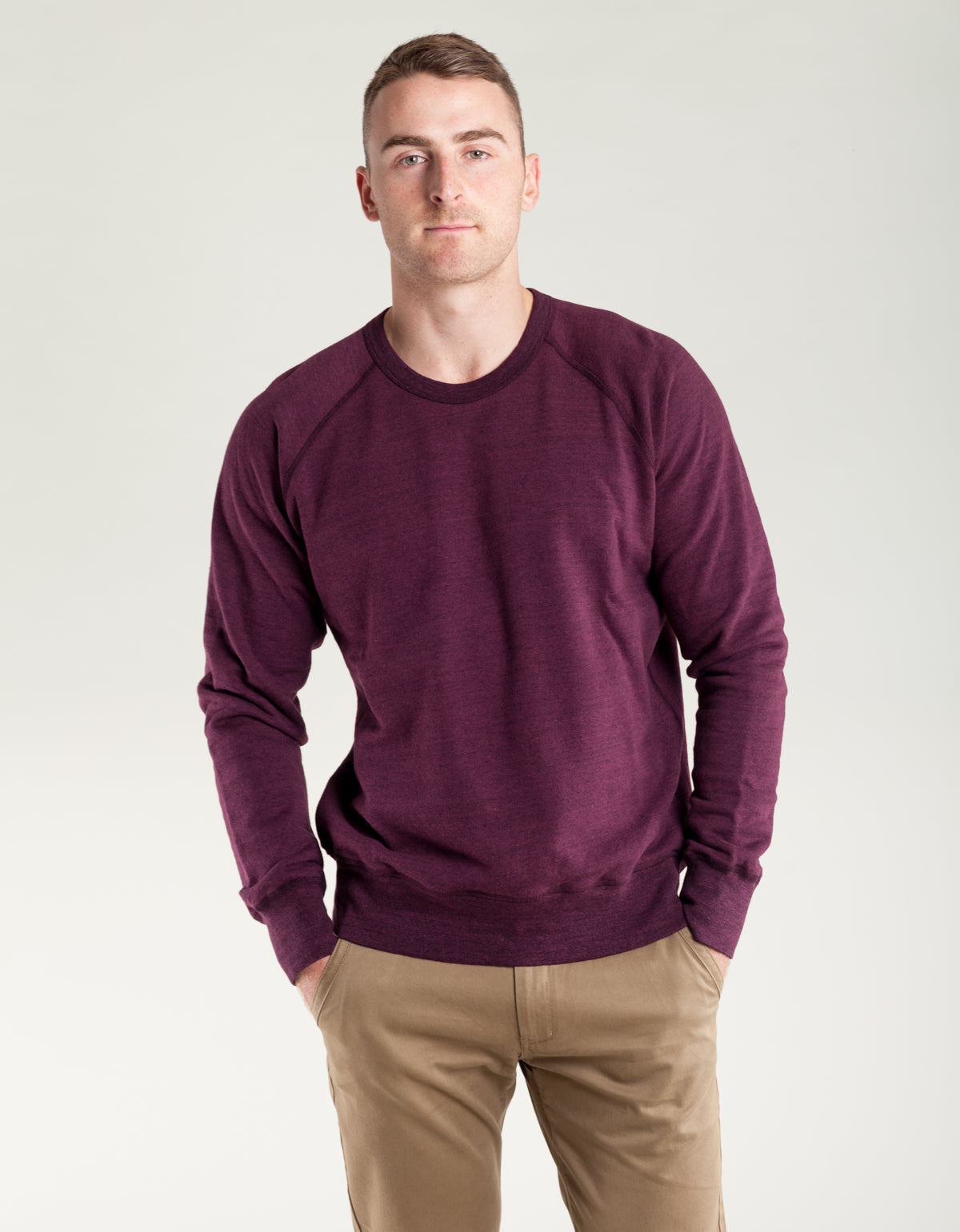 National Athletic Goods Raglan Warm Up Sweater Wine