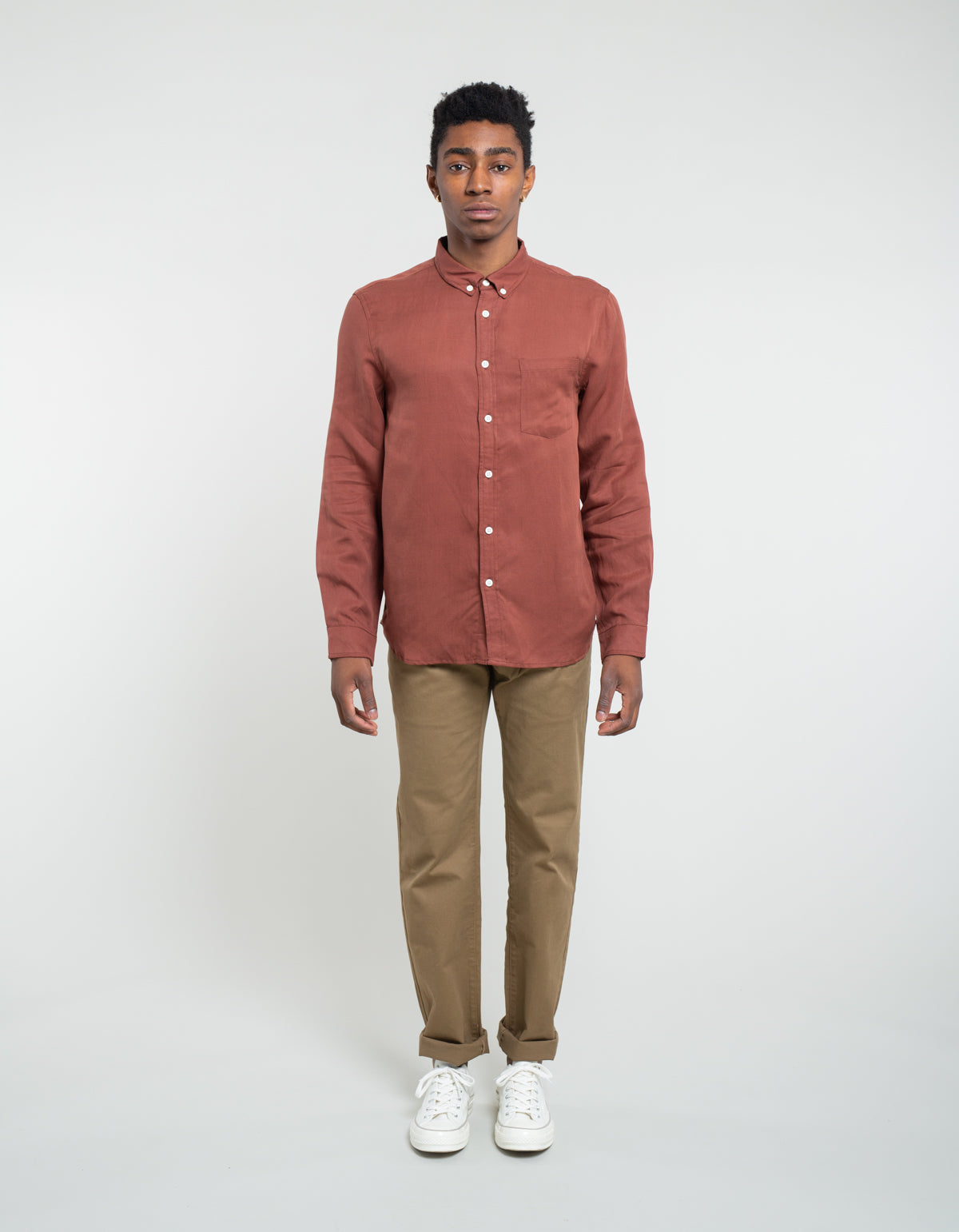 Native North Japanese Linen Tencel Shirt Rust