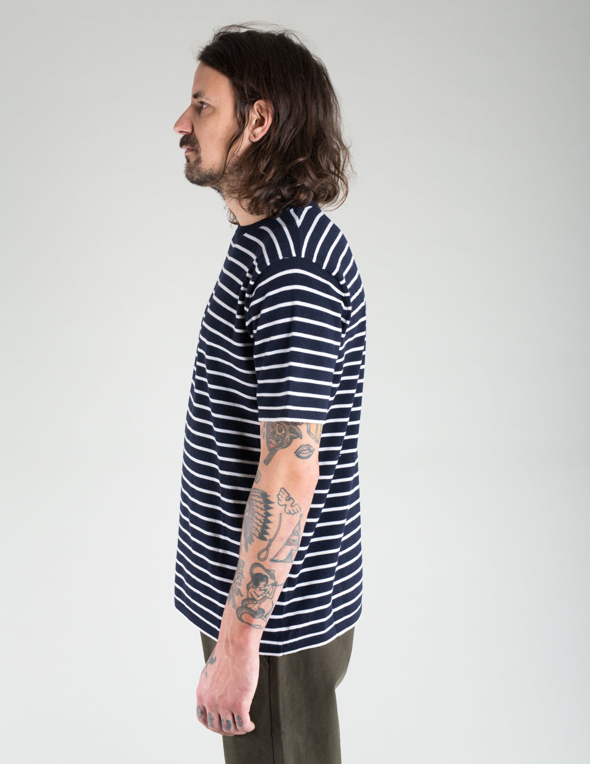 Native North Merino Striped Tee Navy
